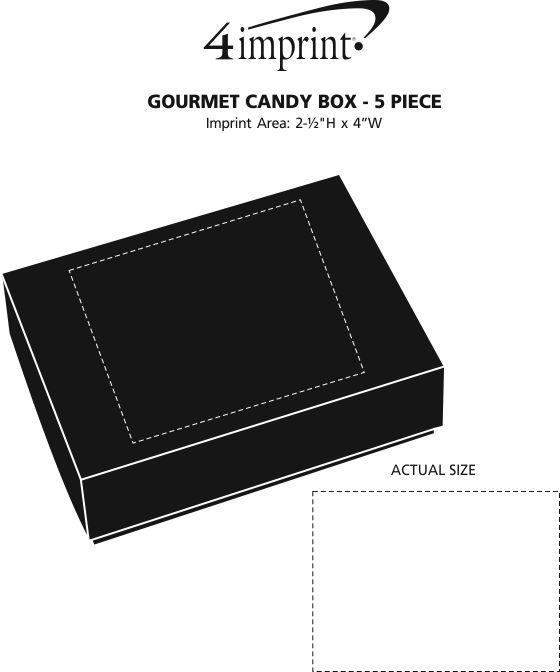 Imprint Area of Gourmet Candy Box - 5 piece