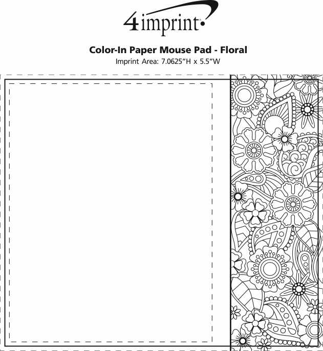 Imprint Area of Bic Colour-In Paper Mouse Pad - Floral