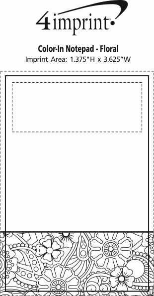 Imprint Area of Bic Colour-In Notepad - Floral