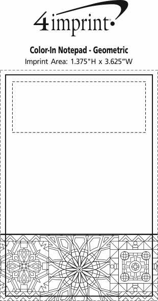 Imprint Area of Bic Colour-In Notepad - Geometric