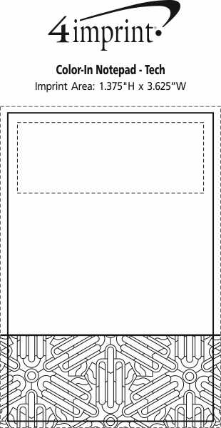 Imprint Area of Bic Colour-In Notepad - Tech