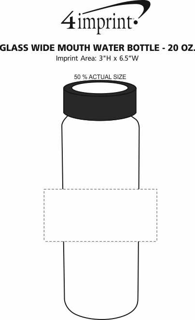Imprint Area of Glass Wide Mouth Water Bottle - 20 oz.