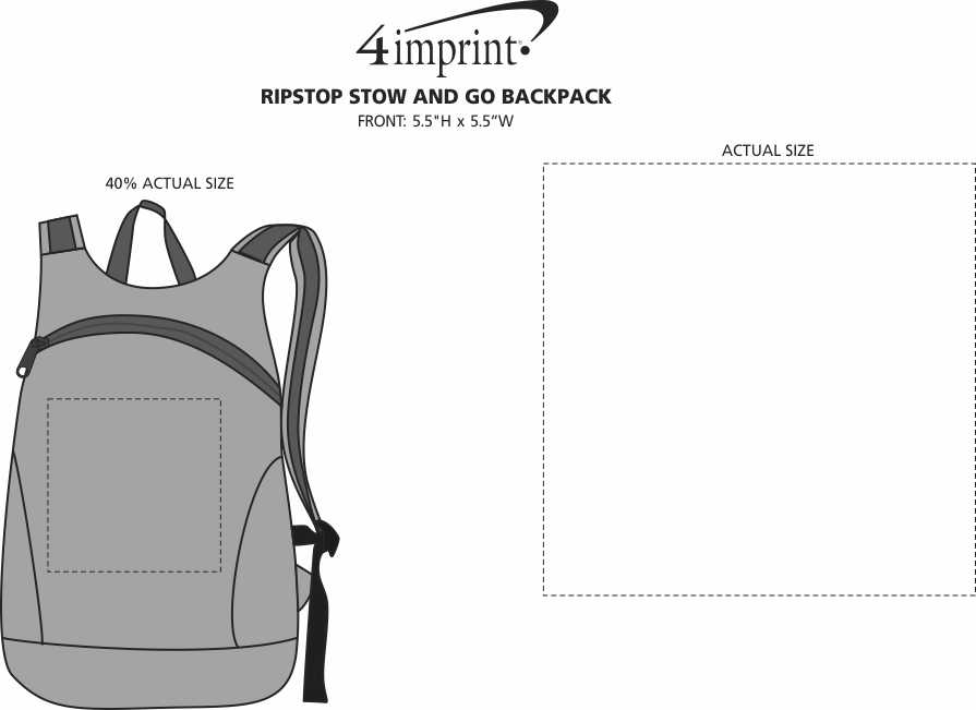 Imprint Area of Ripstop Stow and Go Backpack