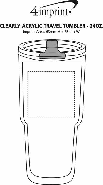 Imprint Area of Clearly Acrylic Travel Tumbler - 24 oz.