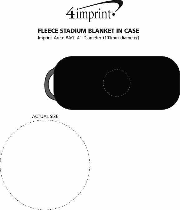 Imprint Area of Fleece Stadium Blanket in Case