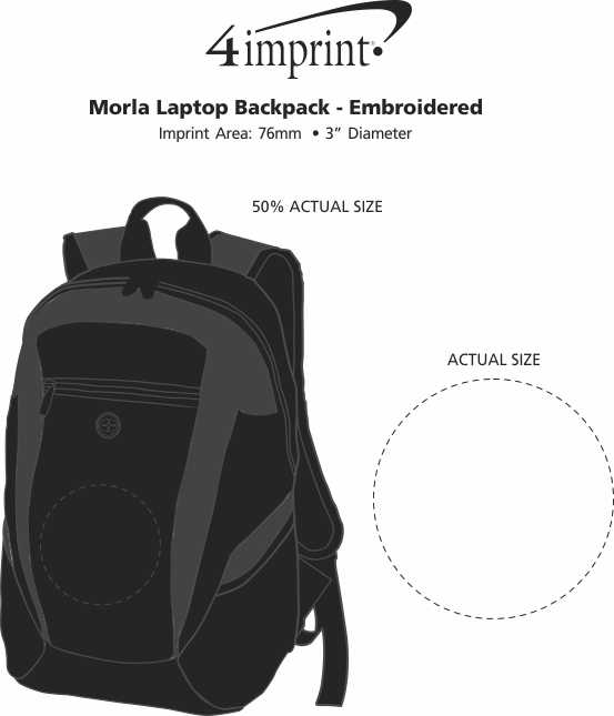 Imprint Area of Morla Laptop Backpack - Embroidered