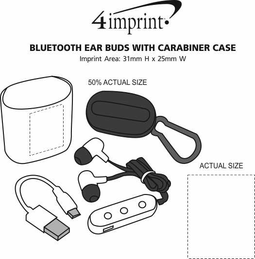 Imprint Area of Bluetooth Ear Buds with Carabiner Case
