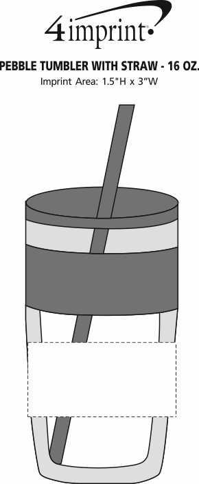 Imprint Area of Refresh Pebble Tumbler with Straw - 16 oz.