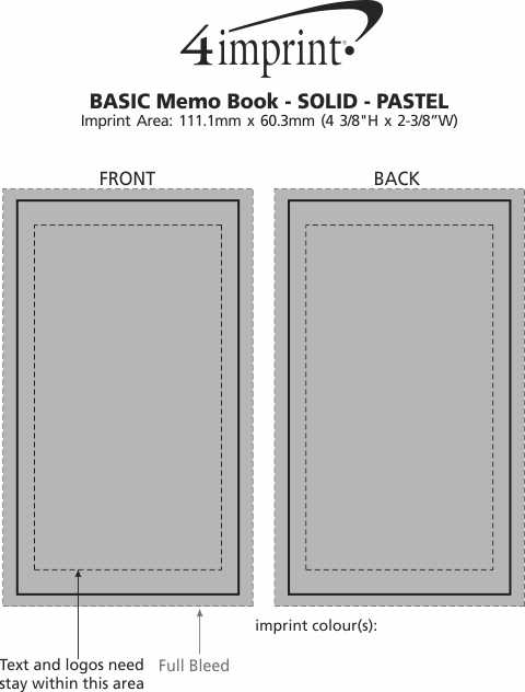 Imprint Area of Memo Book - Solid - Pastel