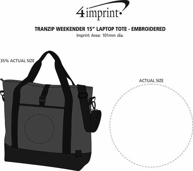 """Imprint Area of Tranzip Weekender 15"""" Laptop Tote - Embroidered"""