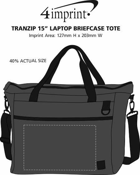 "Imprint Area of Tranzip 15"" Laptop Briefcase Tote"