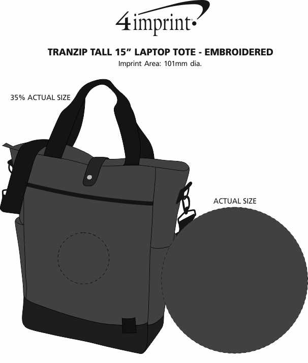 "Imprint Area of Tranzip Tall 15"" Laptop Tote - Embroidered"
