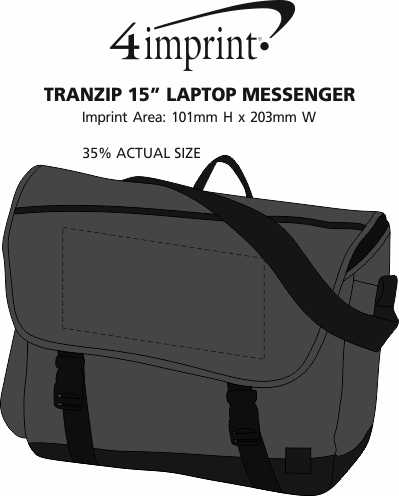 "Imprint Area of Tranzip 15"" Laptop Messenger"