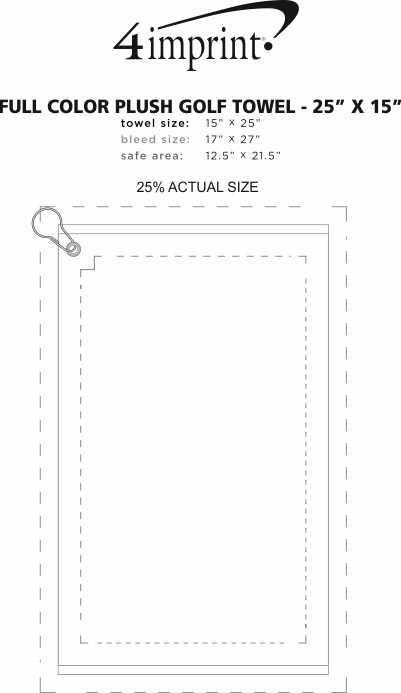 "Imprint Area of Full Colour Plush Golf Towel - 25"" x 15"""