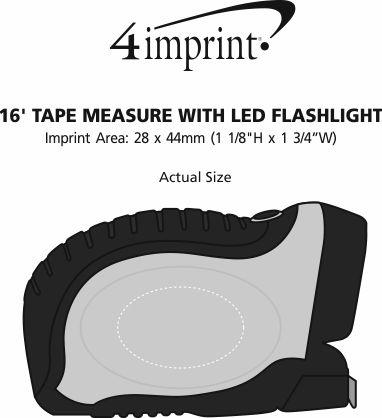 Imprint Area of 16' Tape Measure with LED Flashlight