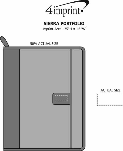Imprint Area of Sierra Portfolio with Notepad