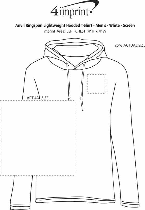 Imprint Area of Anvil Ringspun Lightweight Hooded T-Shirt - Men's - White - Screen