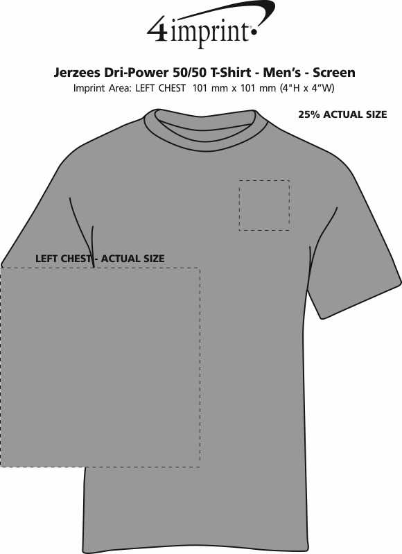 Imprint Area of Jerzees Dri-Power 50/50 T-Shirt - Men's - Colours - Screen