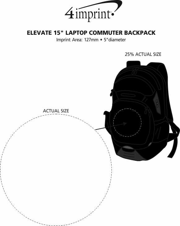 """Imprint Area of Elevate Tangent 15"""" Computer Backpack - Embroidered"""