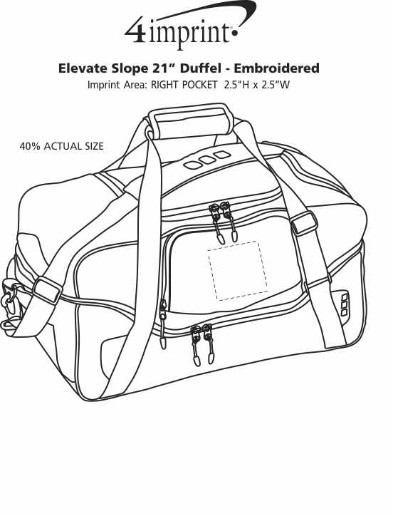 """Imprint Area of Elevate Slope 21"""" Duffel - Embroidered"""