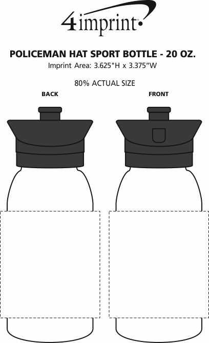 Imprint Area of Police Officer Hat Sport Bottle - 20 oz.