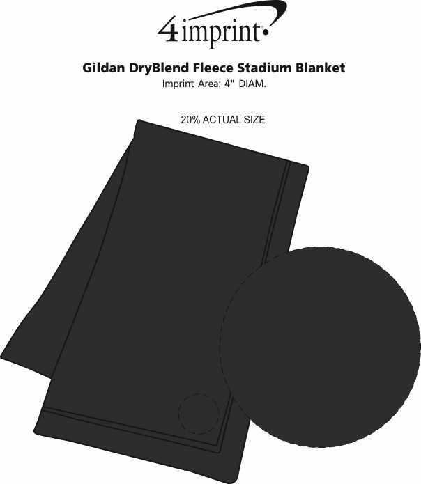 Imprint Area of Gildan DryBlend Fleece Stadium Blanket