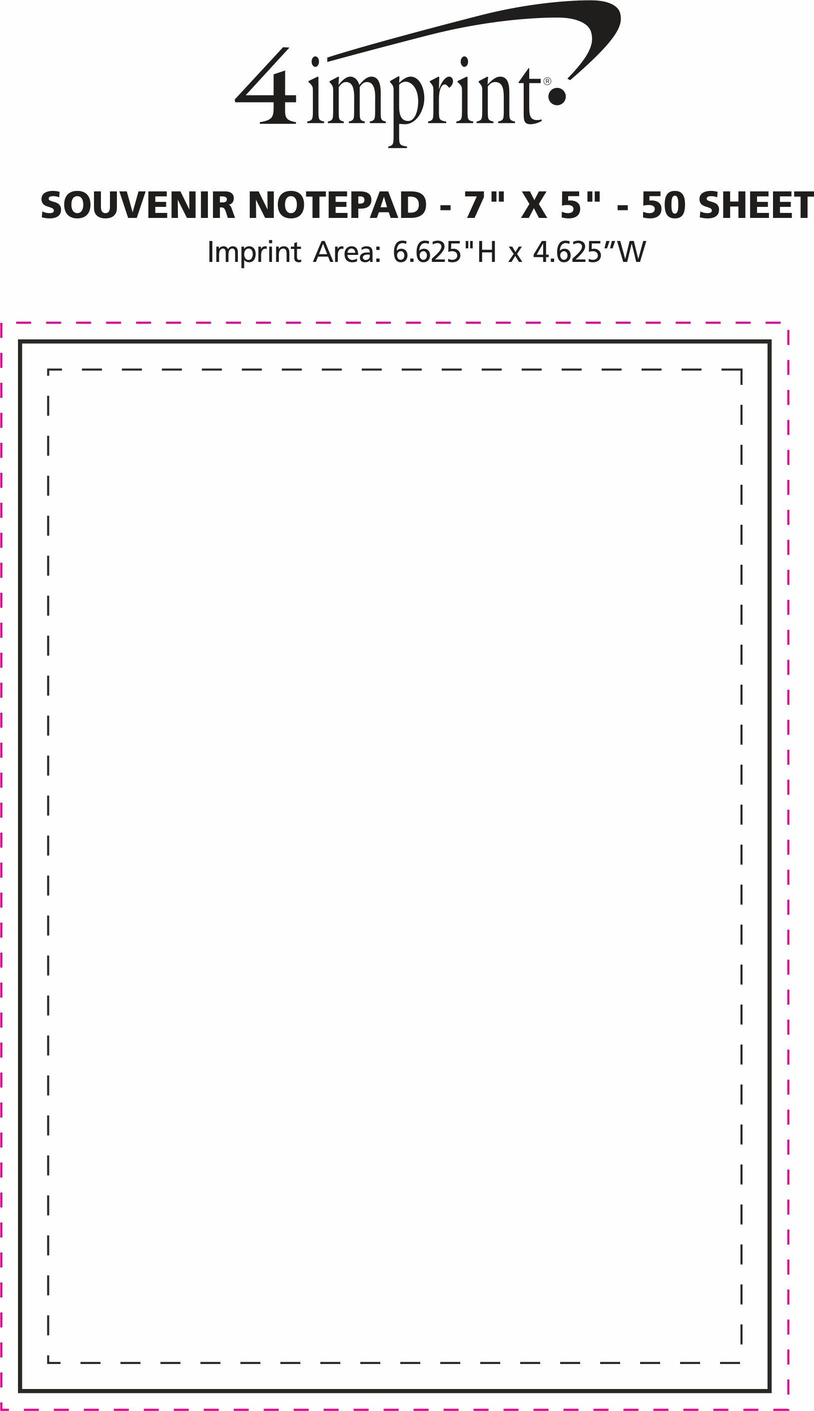 "Imprint Area of Bic Non-Adhesive Notepad - 7"" x 5"" - 50 Sheet"