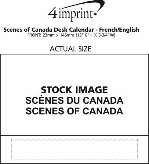 Imprint Area of Scenes of Canada Desk Calendar - French/English