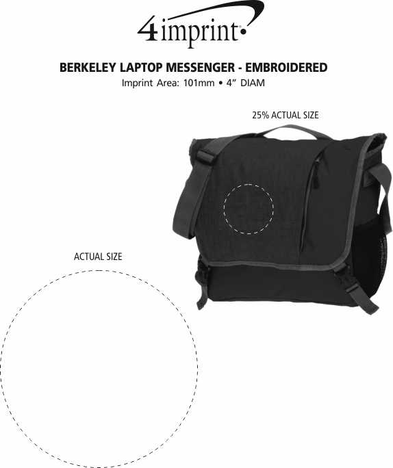 Imprint Area of Berkeley Laptop Messenger - Embroidered