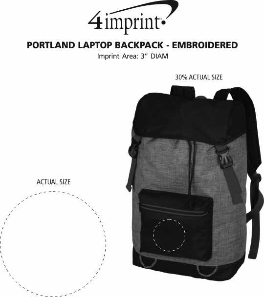 Imprint Area of Portland Laptop Backpack - Embroidered