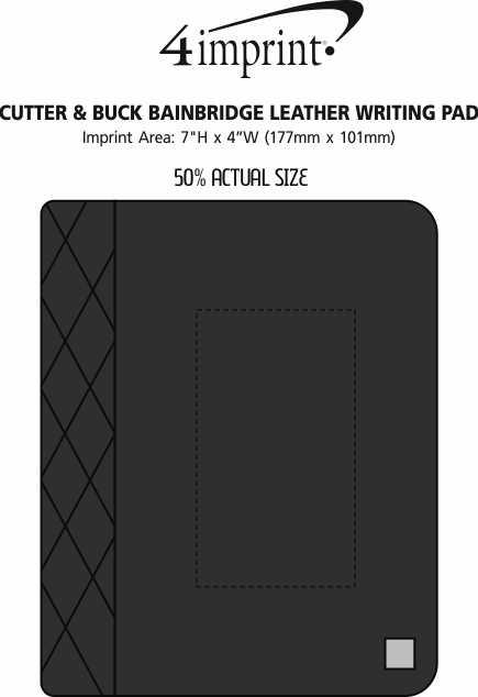 Imprint Area of Cutter & Buck Bainbridge Leather Writing Pad
