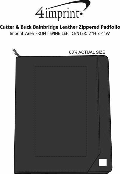 Imprint Area of Cutter & Buck Bainbridge Leather Zippered Padfolio