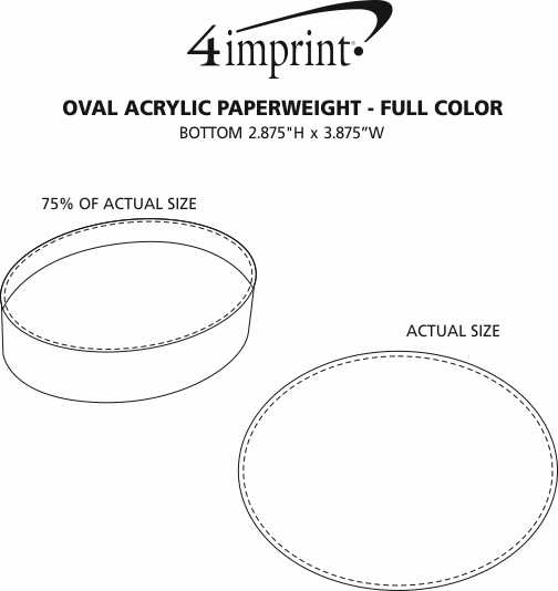 Imprint Area of Oval Acrylic Paperweight - Full Colour