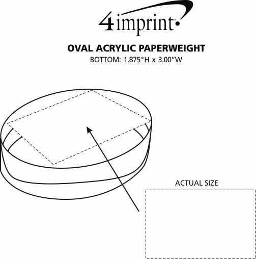 Imprint Area of Oval Acrylic Paperweight