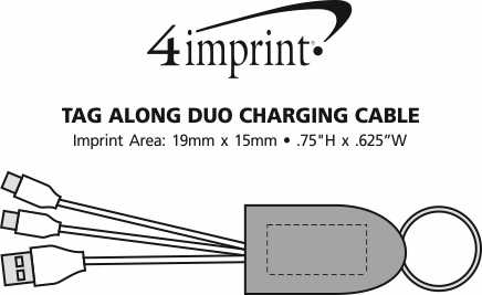 Imprint Area of Tag Along Duo Charging Cable with USB Type-C