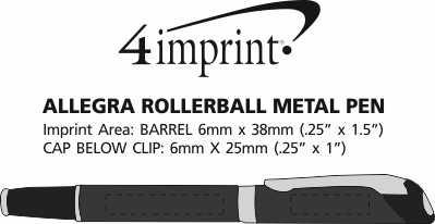 Imprint Area of Allegra Rollerball Metal Pen