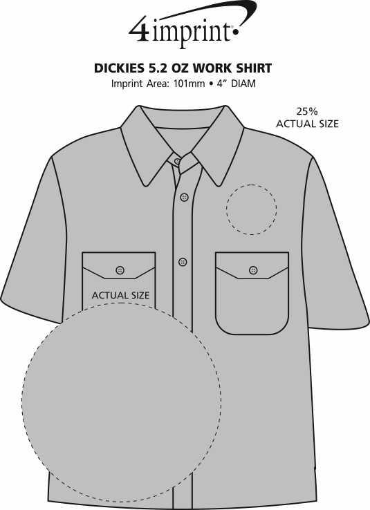 Imprint Area of Dickies Stain Release Work Shirt