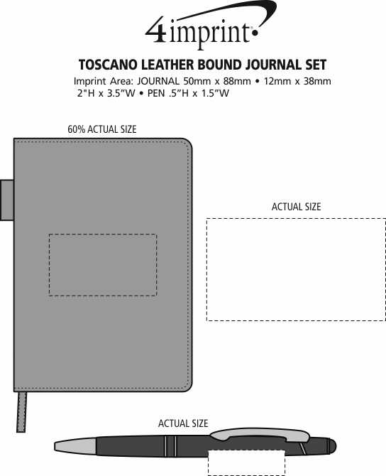 Imprint Area of Toscano Leather Bound Journal Set
