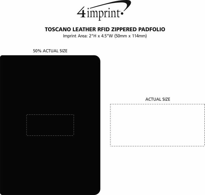Imprint Area of Toscano Leather RFID Zippered Padfolio