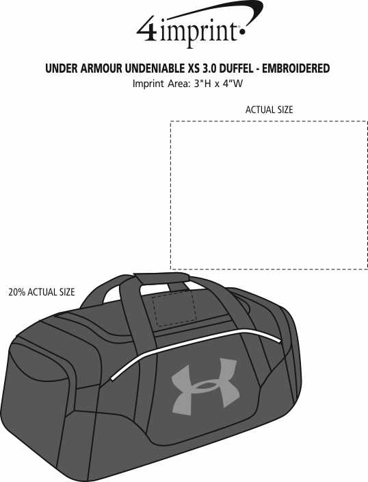 Imprint Area of Under Armour Undeniable XS 3.0 Duffel - Embroidered