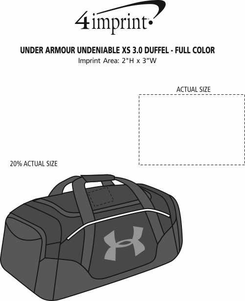 Imprint Area of Under Armour Undeniable XS 3.0 Duffel - Full Colour