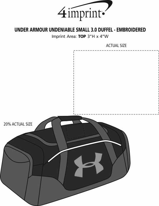 Imprint Area of Under Armour Undeniable Small 3.0 Duffel - Embroidered