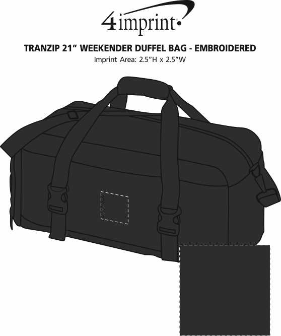"Imprint Area of Tranzip 21"" Weekender Duffel Bag - Embroidered"