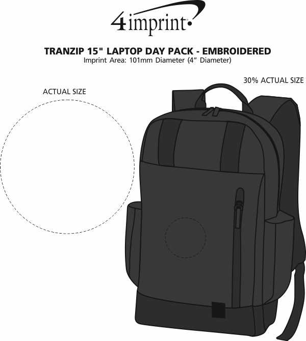 """Imprint Area of Tranzip 15"""" Laptop Backpack - Embroidered"""