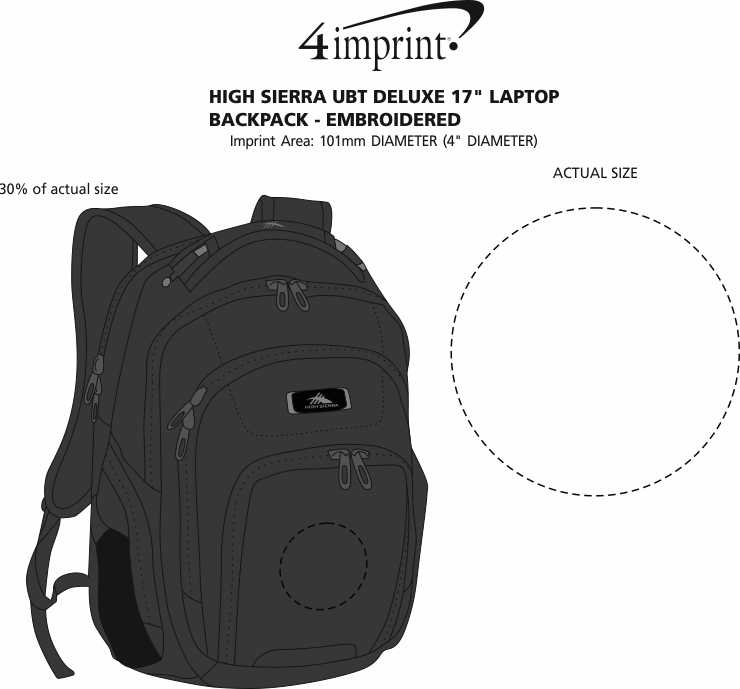 "Imprint Area of High Sierra UBT Deluxe 17"" Laptop Backpack - Embroidered"