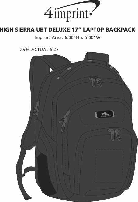 "Imprint Area of High Sierra UBT Deluxe 17"" Laptop Backpack"