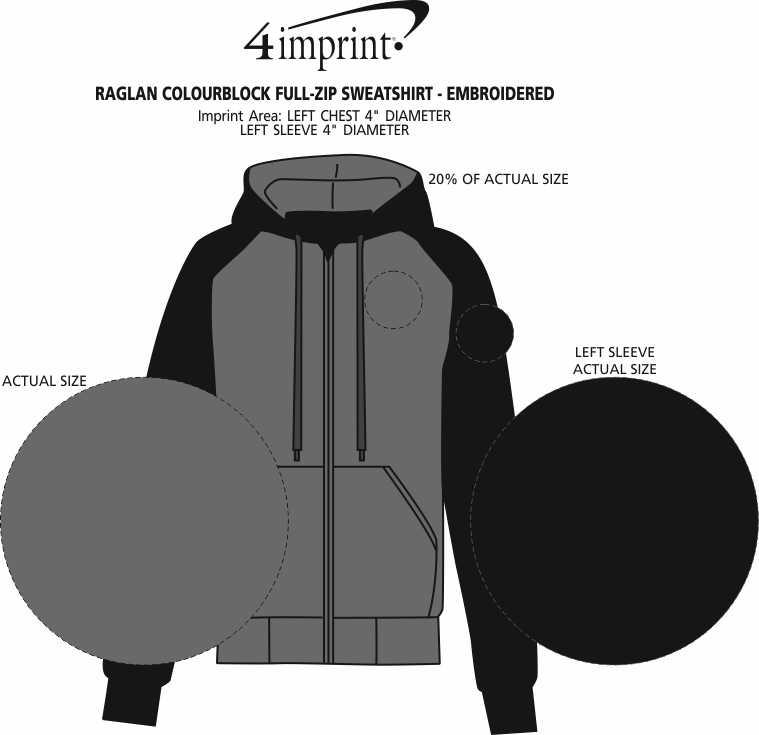 Imprint Area of King Athletics Raglan Colourblock Full-Zip Sweatshirt - Embroidered