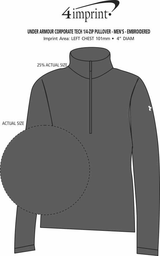 Imprint Area of Under Armour Corporate Tech 1/4-Zip Pullover - Men's - Embroidered