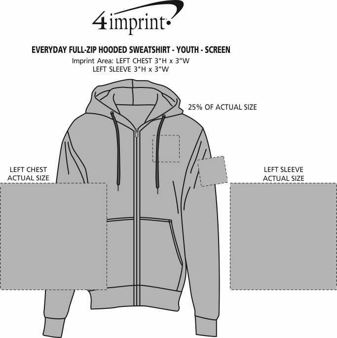 Imprint Area of Everyday Full-Zip Hooded Sweatshirt - Youth - Screen