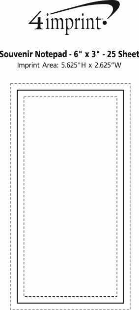 "Imprint Area of Bic Non-Adhesive Notepad - 6"" x 3"" - 25 Sheet"